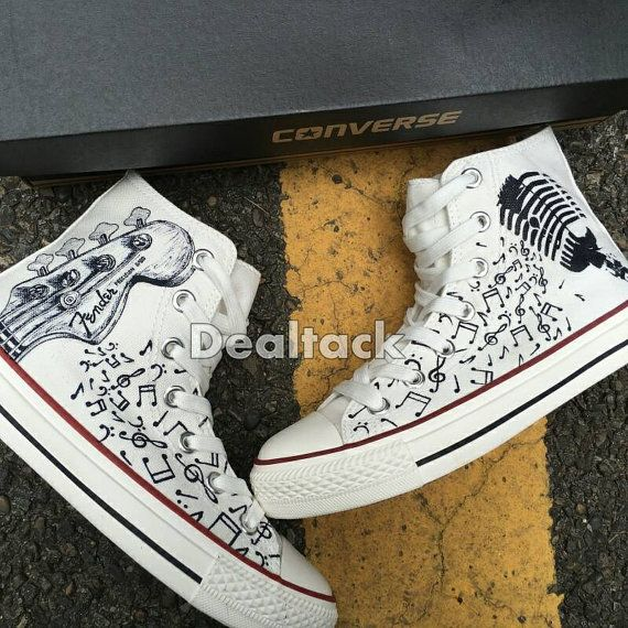 Low Top Converse All Star Shoes Music Notes Hand Painted