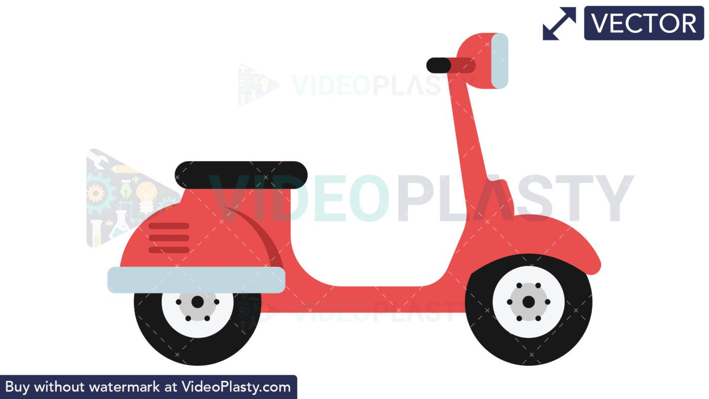 vector clipart icon of a red classic italian scooter [ 1400 x 788 Pixel ]