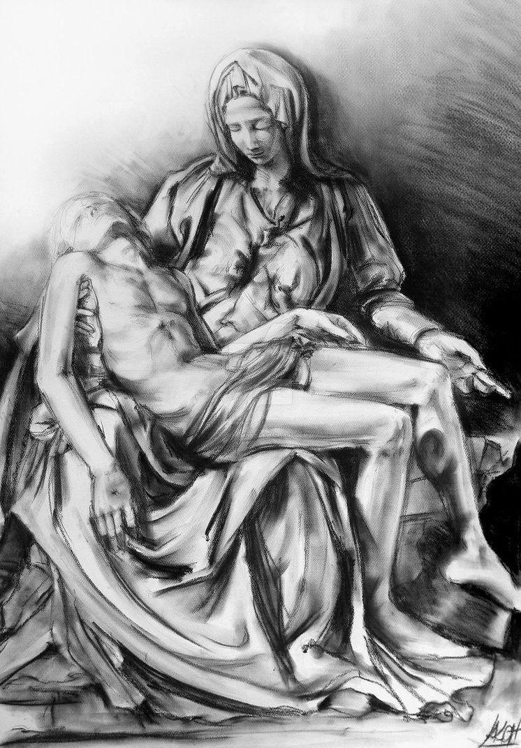 Charcoal drawing of michelangelos pieta by katarzyna kmiecik