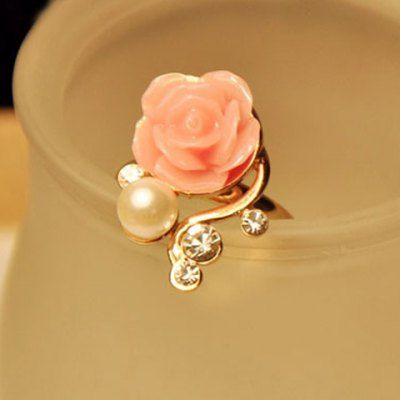 Cute Beads Rhinestone Rose Flower Ring For Women #jewelry, #women, #men, #hats, #watches, #belts