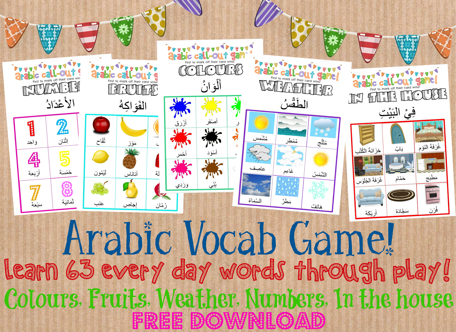 kids arabic vocab game with free download to print at home