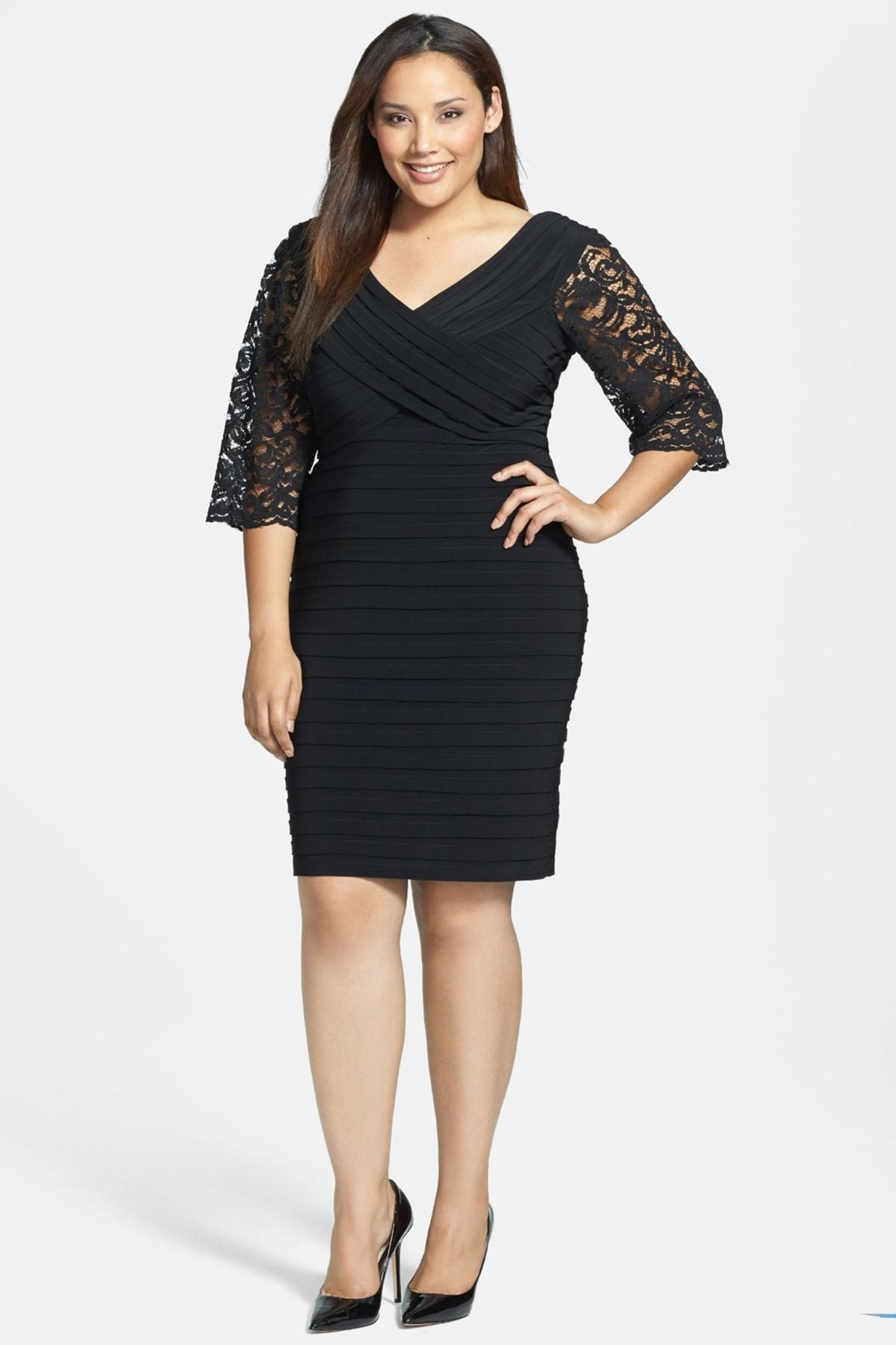 Xscape lace sleeve shutter pleat sheath dress plus size