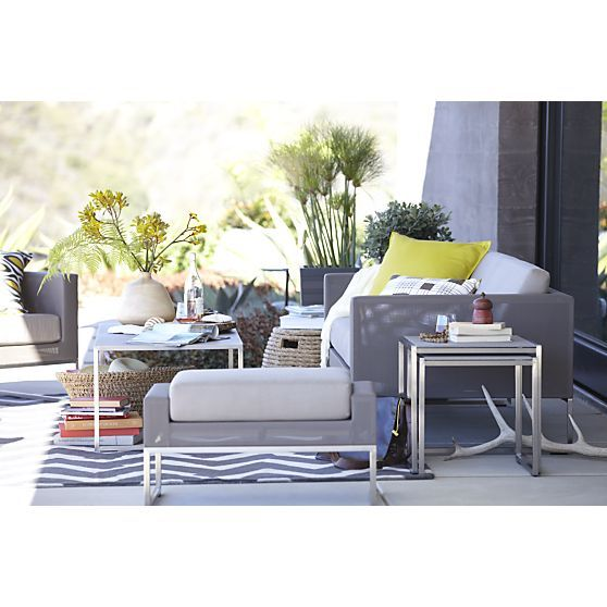 Dune Sofa With Sunbrella Taupe Cushion In Crate And Barrel
