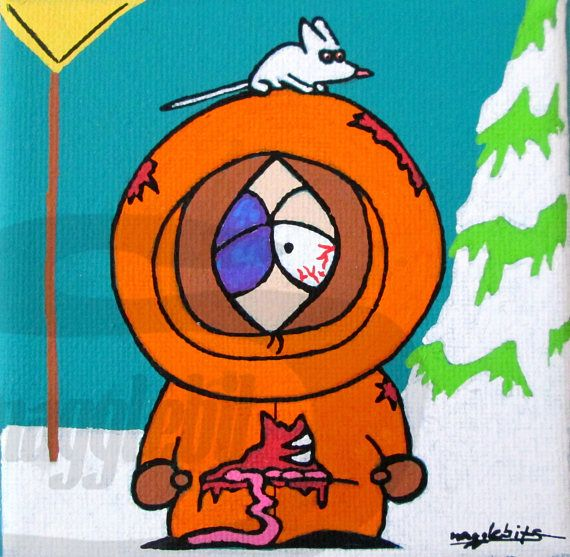 South Park Dead Zombie Kenny Pop Fan Art Painting This Is A One Of A Kind Original Fan Art Painting Of Dead Zombie K Geek Art Painted Fan Kenny South Park