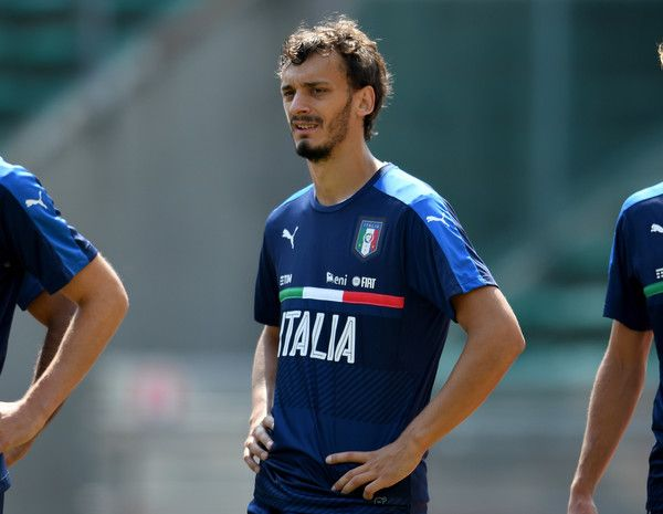 Manolo Gabbiadini of Italy looks on during the Italy training session at Stadio San Nicola on September 3, 2016 in Bari, Italy.