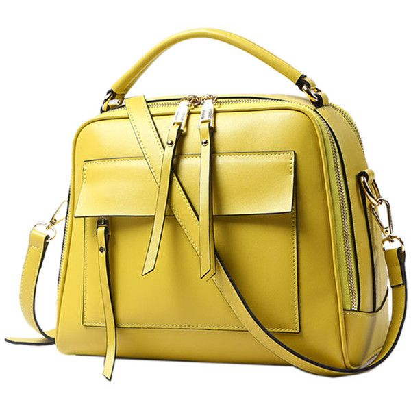 Yellow Zipper Detail PU Satchel Bag ($43) ❤ liked on Polyvore featuring bags, handbags, yellow satchel, yellow purse, yellow bag, satchel handbags and satchel style purse