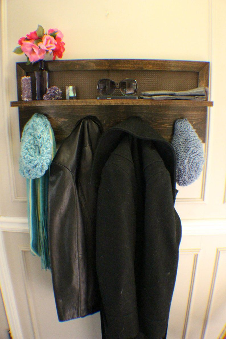 Beautiful kona stained 4 hook wall mounted coat rack with