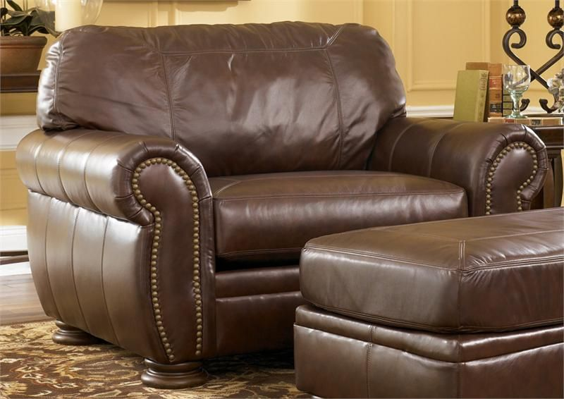 Palmer walnut chair and a half from millennium by ashley - Ashley millennium living room furniture ...