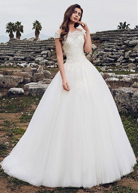 Stunning Tulle Off-the-shoulder Neckline Ball Gown Wedding Dress ...