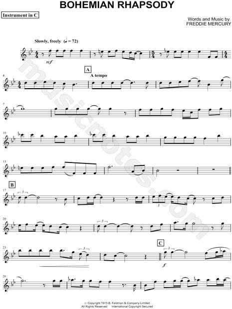Print And Download Bohemian Rhapsody C Instrument Sheet Music By