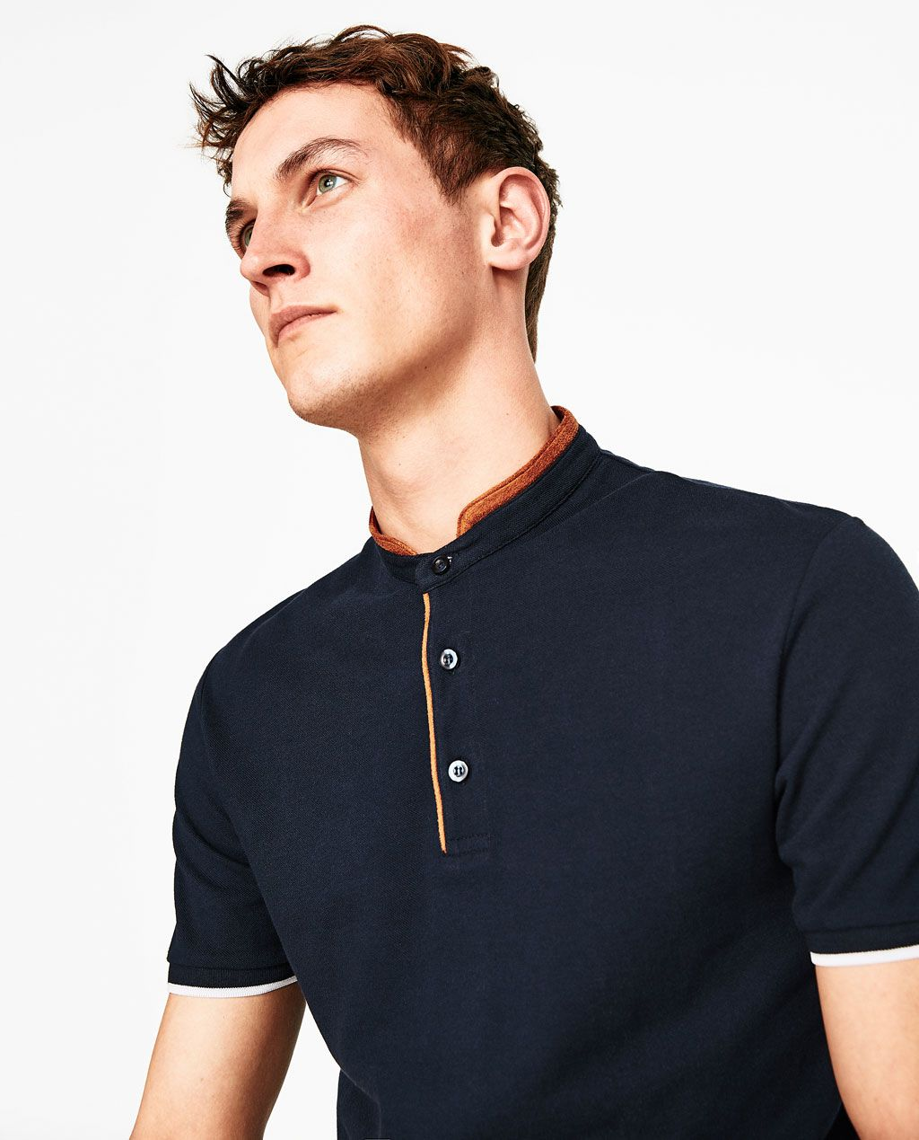 4405a279c2 POLO SHIRT WITH FAUX SUEDE COLLAR-POLOS-MAN