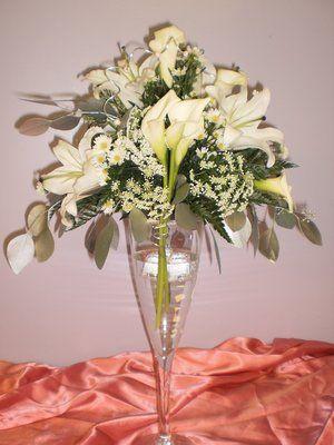 Pinterest & Champagne Glass Flower Arrangement | Large champagne glass ...