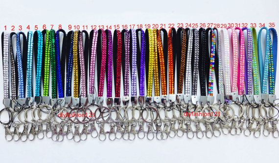 Sale !! 1 pc New Short Wrist Strap Crystal Rhinestone Bling Bling for Cell Phone Lanyard & Key Holder Deco