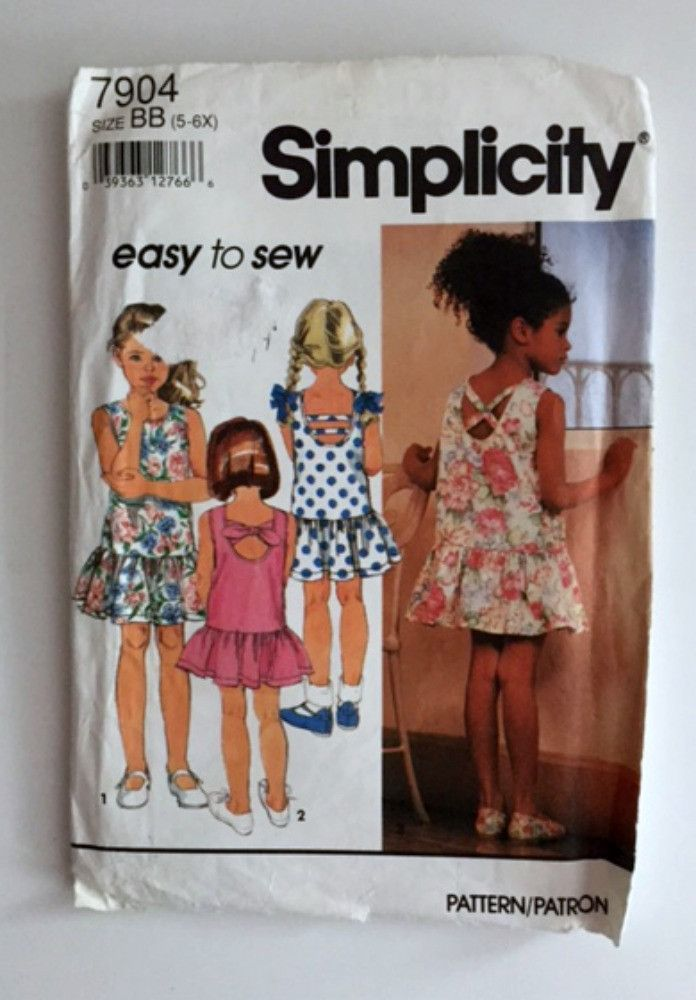 Simplicity 7904 Sewing Pattern Girls Dress Back Variation New Uncut ...