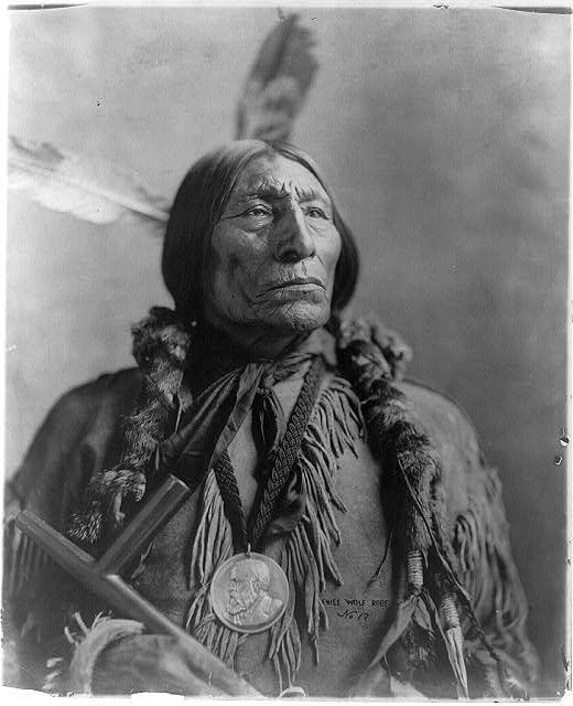 """""""Wolf Robe (c.1838-1910) was a Southern Cheyenne chief and a holder of the Benjamin Harrison Peace Medal. During the late 1870s he was forced to leave the open plains and relocate his tribe on to the Cheyenne and Arapaho Indian Reservation in Indian Territory.  He was awarded the Benjamin Harrison Peace Medal in 1890 for his assistance in the Cherokee Commission."""""""