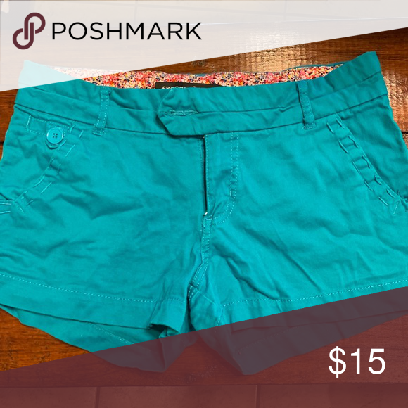 Turquoise Shorts Super Cute Perfect For Summer Turquoise Shorts With Stitching To The Pockets Size 11 Freestyle Shorts Turquoise Shorts Shorts Turquoise