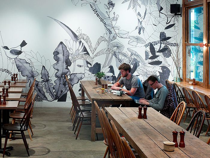 Modern and simple restaurant creative mural