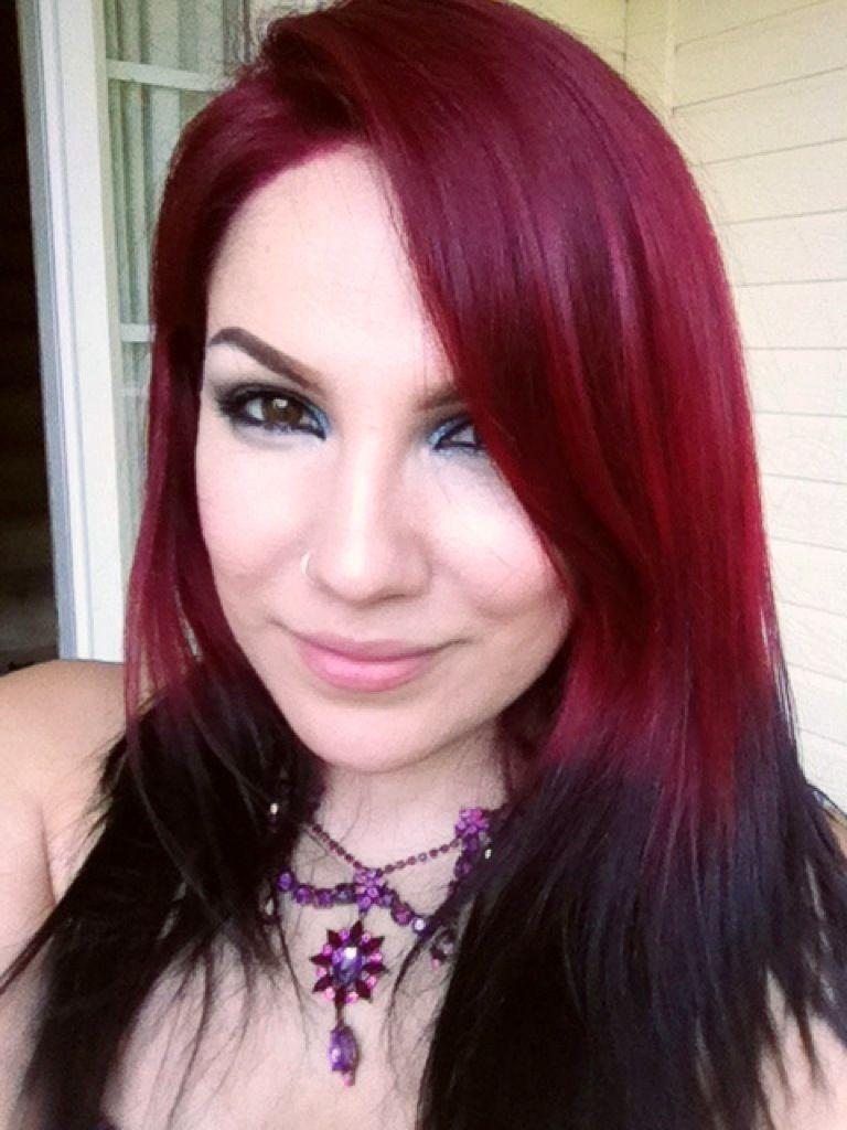 My Cherry Red Hair Mixed Some Manic Panic Vampire Red And Shocking Blue To Create This Dark Red Hair Color Blue Red Hair Color Brown Ombre Hair