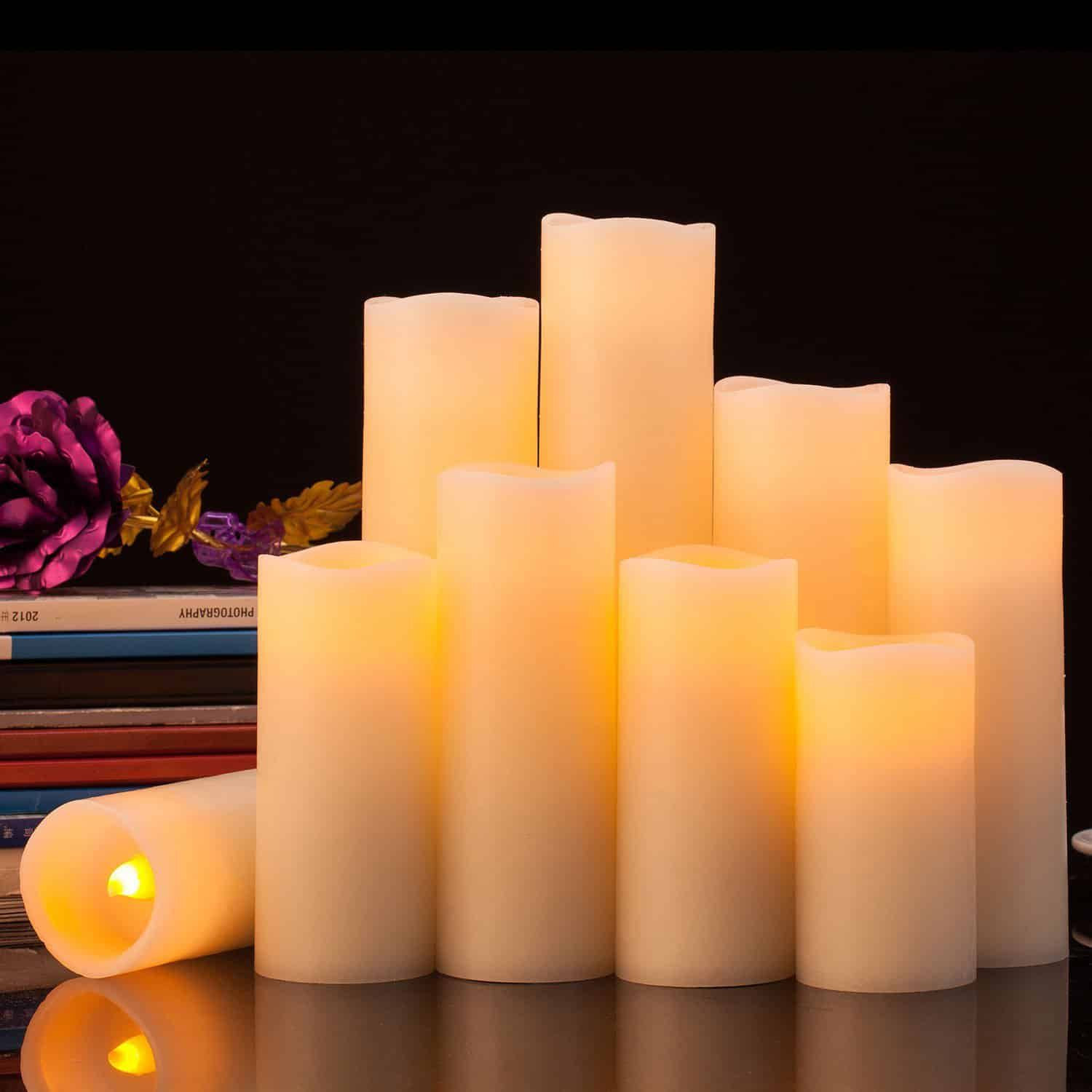 Pandaing Flameless Candles Battery Operated Led Pillar Real