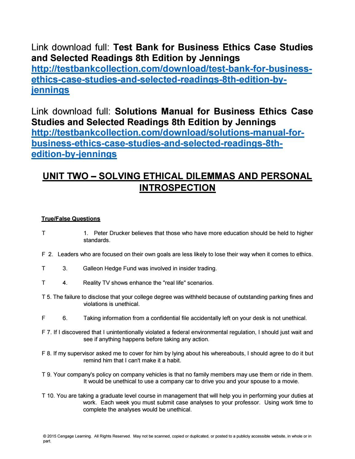 Test bank for business ethics case studies and selected readings 8th test bank for business ethics case studies and selected readings 8th edition by jennings fandeluxe Choice Image