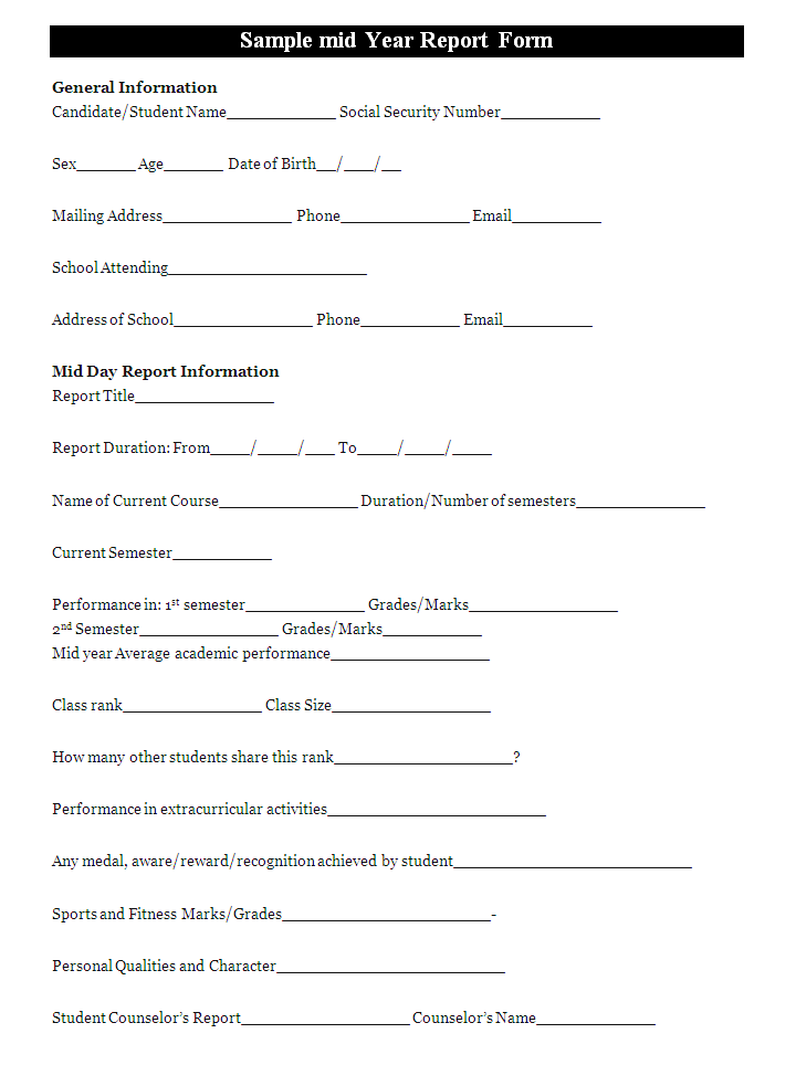 A mid year report form template is prepared by the