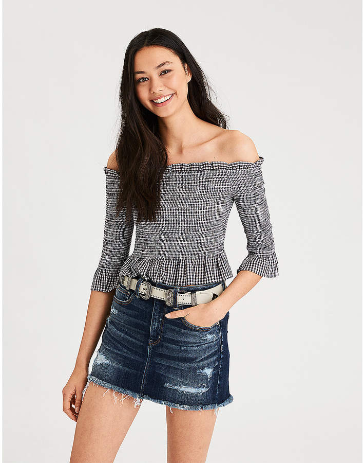07067b4cebc7ed American Eagle AE Smocked Off-The-Shoulder Long Sleeve Crop Top ...