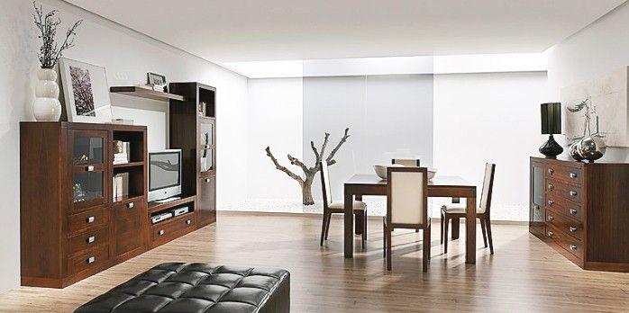 Muebles para salon comedor madera - nogal | Muebles salon, Salón y ...