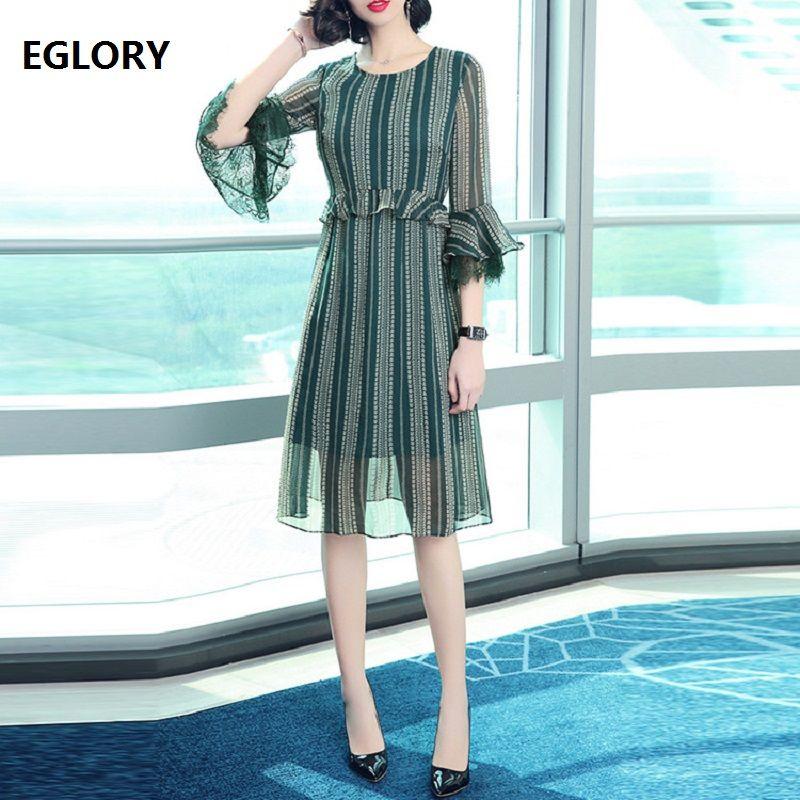 cfdf2a9ec8 New Korean Fashion Dress Spring Summer 2018 Women Green Striped Print Flare  Sleeve Lace Patchwork Casual Office Dress Beach