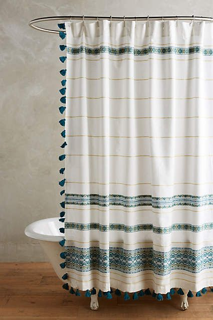 Diamanta Striped Shower Curtain Bohemian Shower Curtain Boho