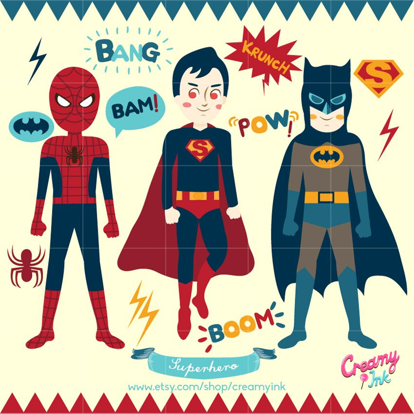 Superman superhero style building. Clip art featuring spiderman