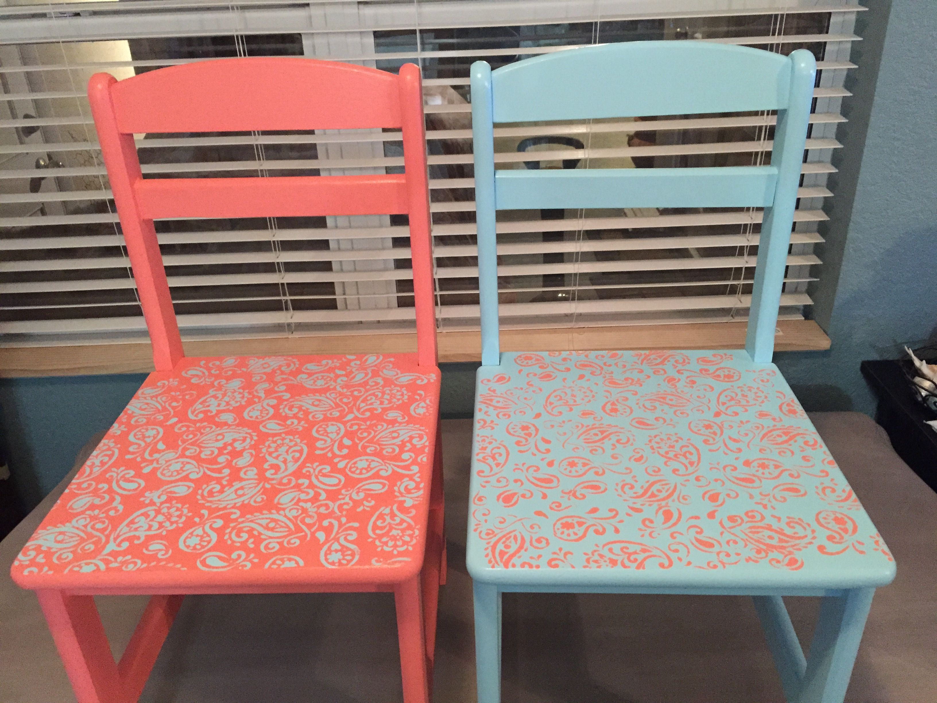Paisley kids chairs painted in Aqua and coral Chalk