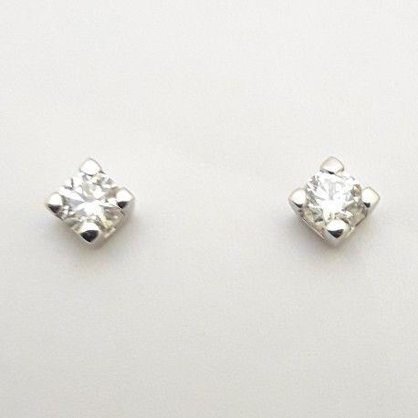 Σκουλαρίκια λευκόχρυσα μονόπετρο Κ18 με λευκά διαμάντια σε κοπή μπριγιάν 0 a013e75ac66