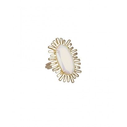 Owen Cocktail Ring in White Iridescent