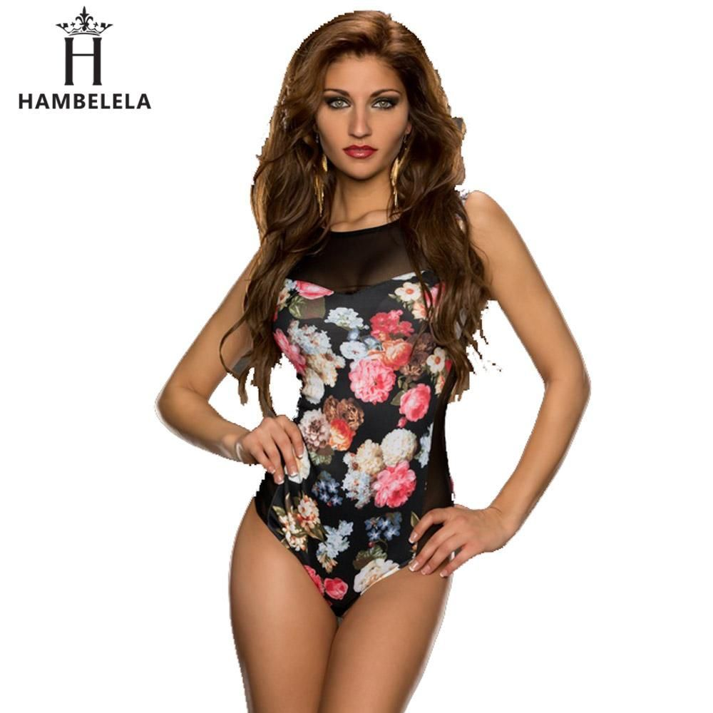 776b179efbb HAMBELELA 2017 Fashion Rompers Womens Jumpsuit Printed Floral Sleeveless Women  One Piece Sexy Slim Bodysuit Mesh Playsuits