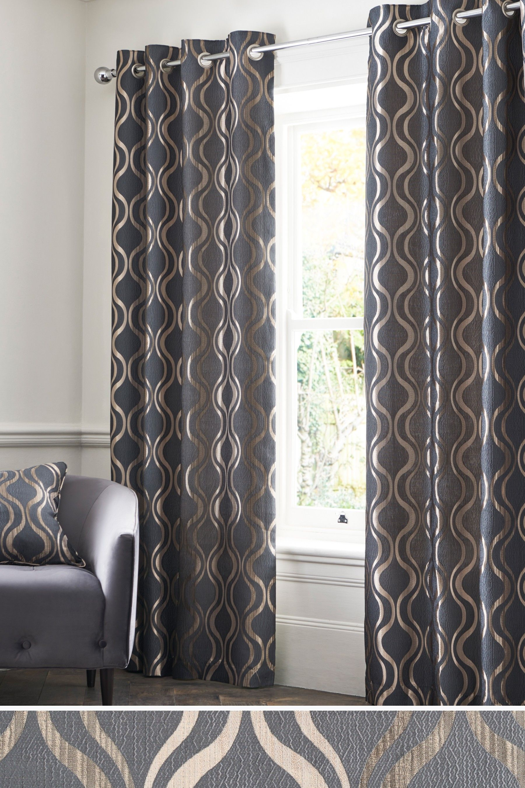 Next Geo Wave Jacquard Eyelet Curtains - Grey | Curtains ...