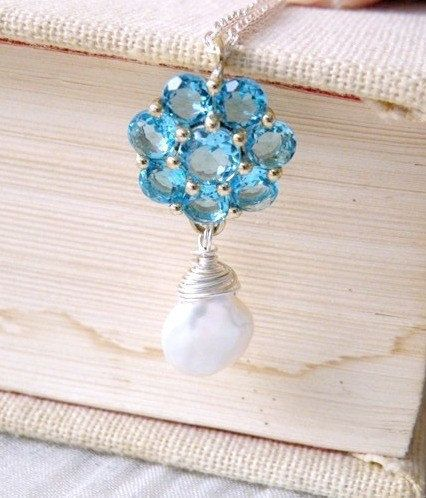 Pale Aquamarine Blue Cubic Zirconia and Genuine Coin by SomsStudio, $31.00
