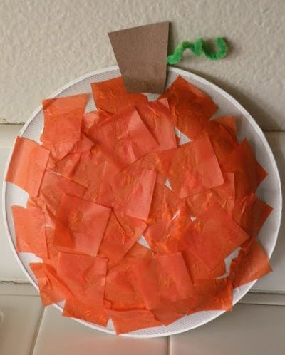 Orange Tissue Paper Pumpkin Craft Maybe Use Green Construction To Cutout An Outline Of The Childs Hand Serve As Leaf On Stem