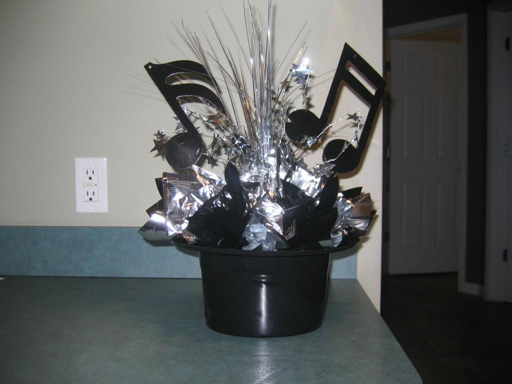 Music note themed centerpiece for bar mitzvah by all