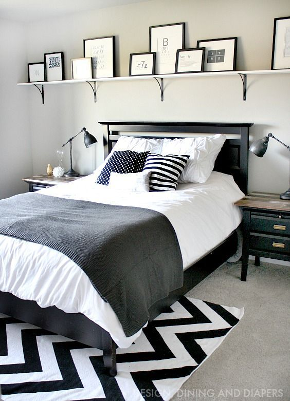 Bold shelf above bed with rustic modern black and white decor so easy using bosch measuring tool ad
