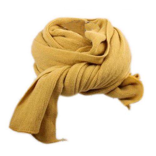 Dehang Écharpe longue tricoté Coton Unie Femmes Douce Chaude À la mode – Kaki / Rouge / Jaune moutarde
