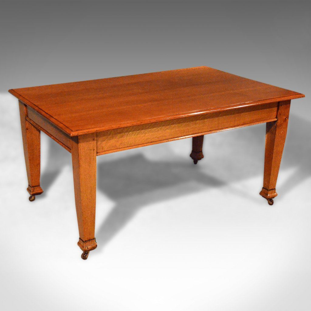Antique Dining Table Six Seat English Oak Kitchen