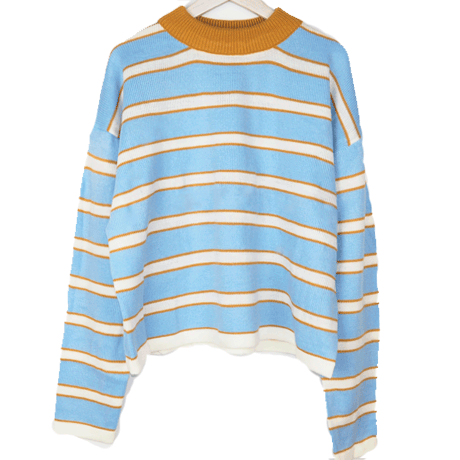 9a211247f710 Blue yellow stripes cute o neck sweater in 2019   clothes   Fashion ...