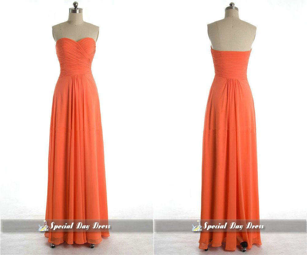 New arrival orange bridesmaid dresses long by specialdaydress