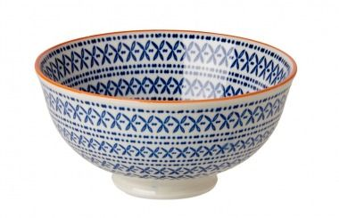 Schale China, tief, Kreisform blau - Material: Porzellan