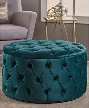 Noble House Owain Round Ottoman Reviews Furniture Macy S In