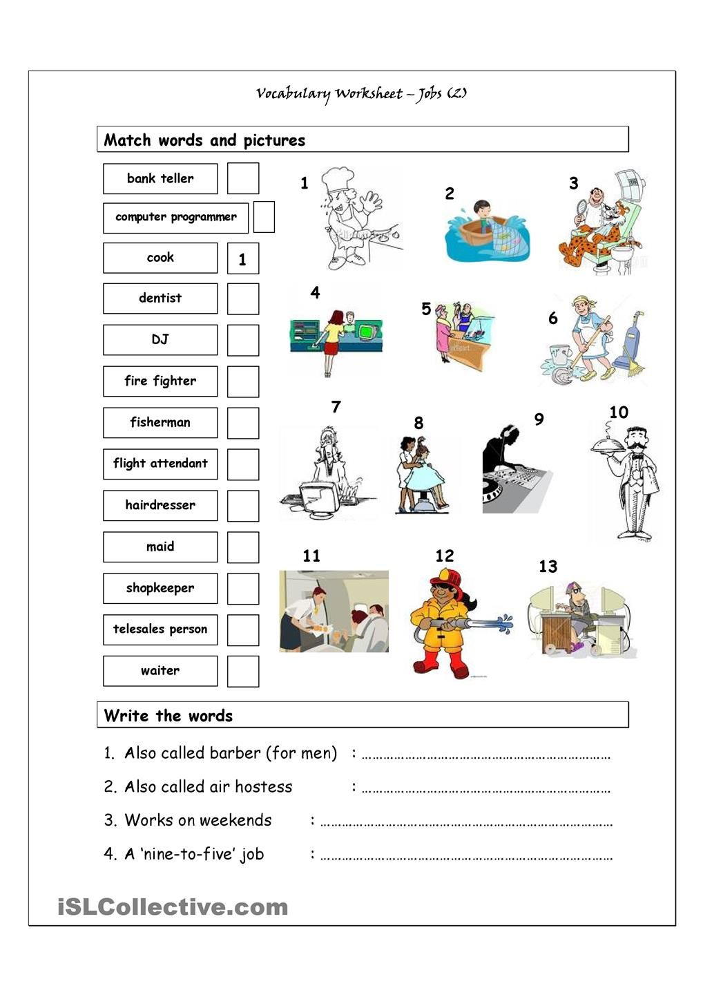 Worksheet Vocabulary Enrichment Worksheets entertainment vocabulary exercises esl worksheets of the day worksheet focusing on jobs more difficult it has two sections match words and pictures matching exercise write