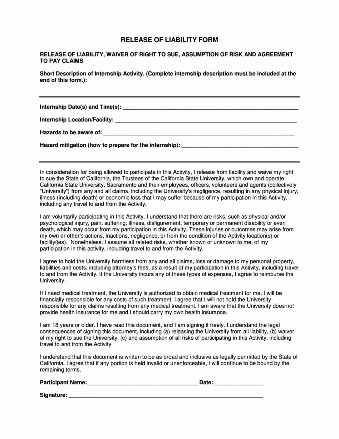 Free General Release Form Template Beautiful General Liability Release Form Template Sampletemplatess Liability General Liability Liability Waiver