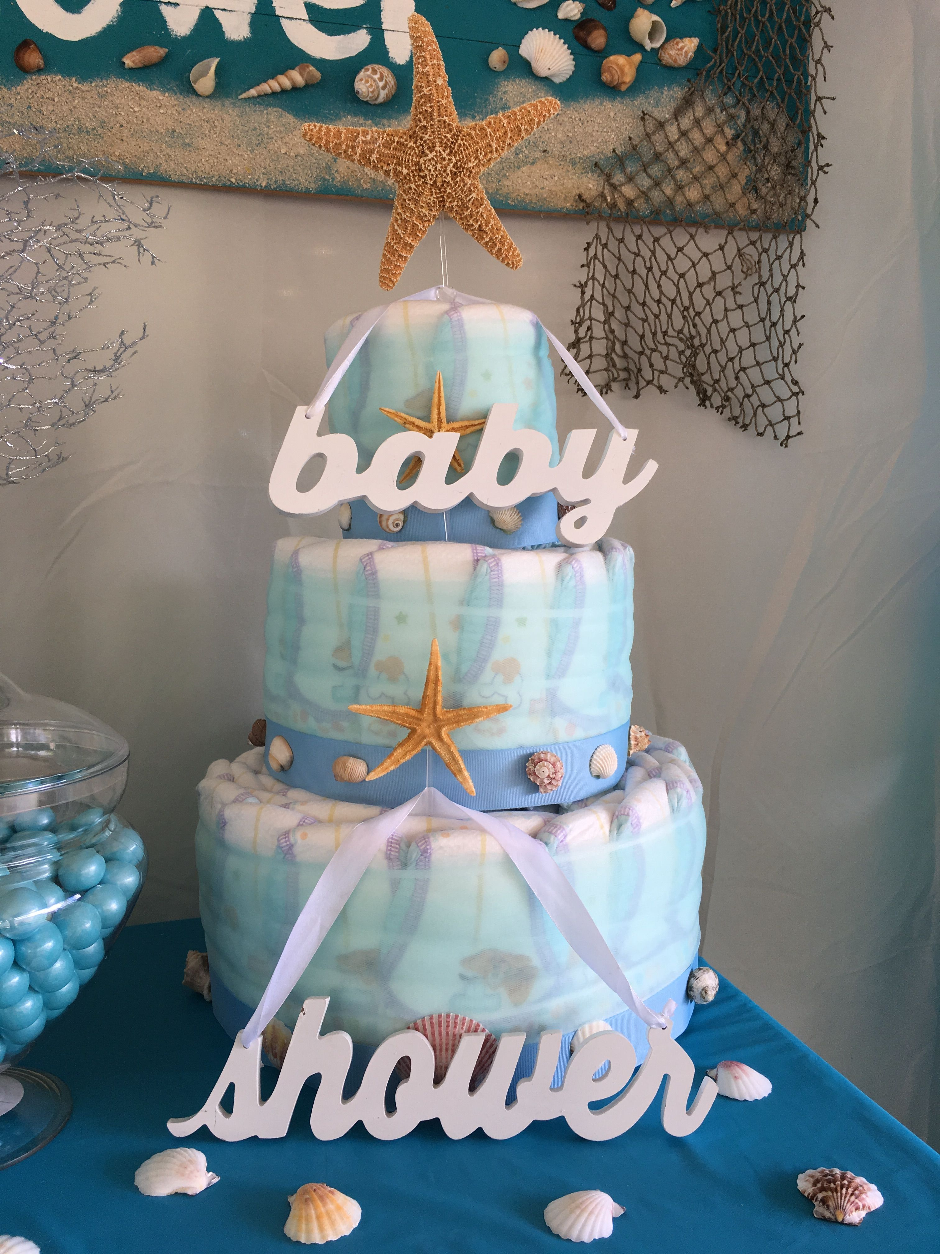 Beach Theme Diaper Cake For A Boy Baby Shower The Hubby Did A