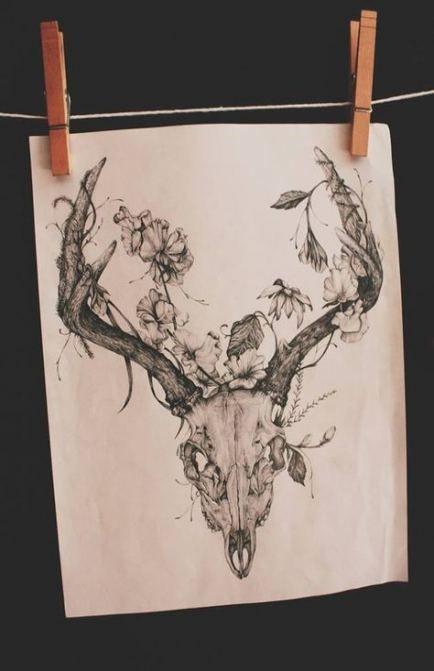 46+ ideas for tattoo animal flower deer skulls