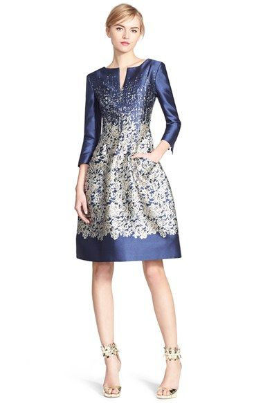 Oscar de la Renta Lace Print Silk Blend Mikado Fit & Flare Dress ...